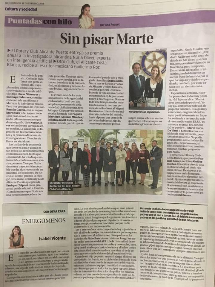 La Conferencia de Guillermo Roz en el diario Información